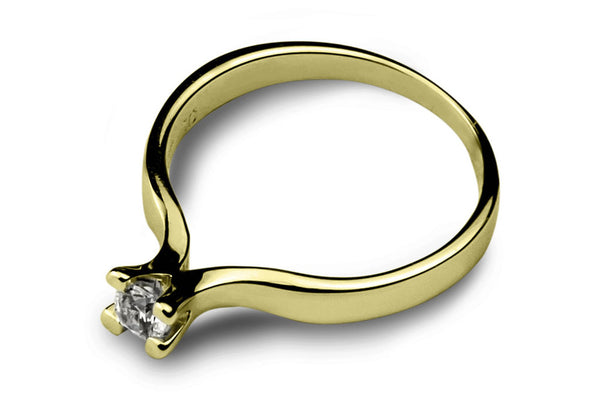 Anillo con Diamante Flower Oro Amarillo 18k