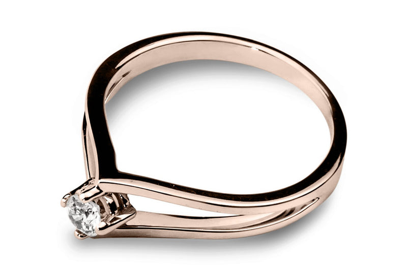 Anillo con Diamante Drop Oro Rosa 14k