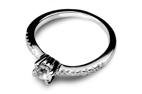 Anillo con Diamante Bent Oro Blanco 18k