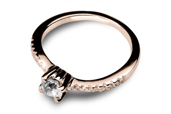 Anillo con Diamante Bent Oro Rosa 14k