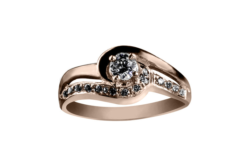 Anillo con Diamante Couple Oro Rosa 14k