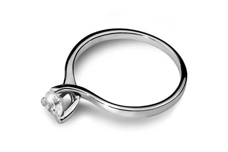 Anillo con Diamante Twist Oro Blanco 18k