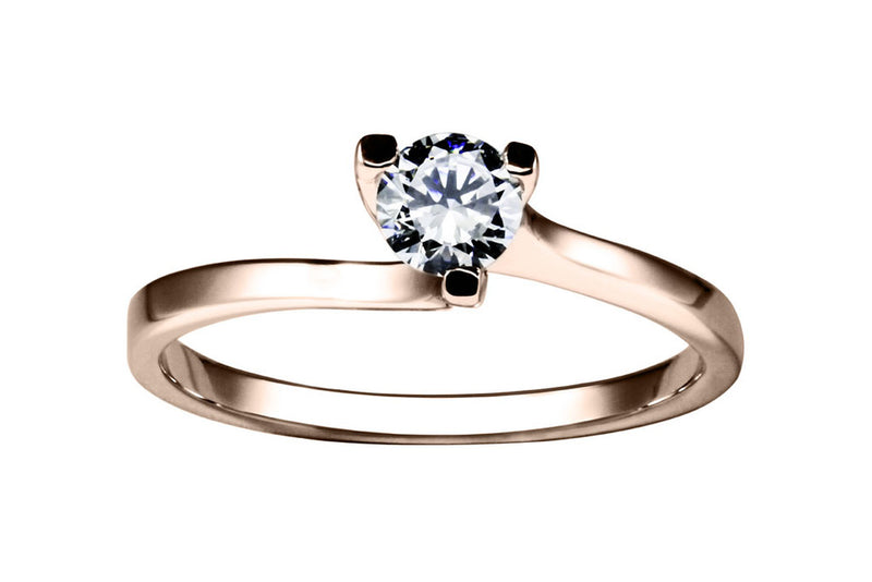 Anillo con Diamante Twist Oro Rosa 14k