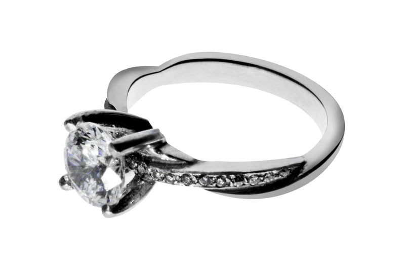 Anillo con Diamante Eternity Oro Blanco 18k