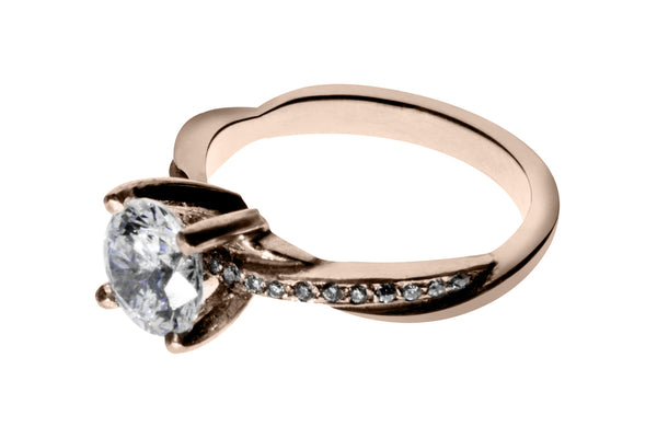 Anillo con Diamante Eternity Oro Rosa 18k