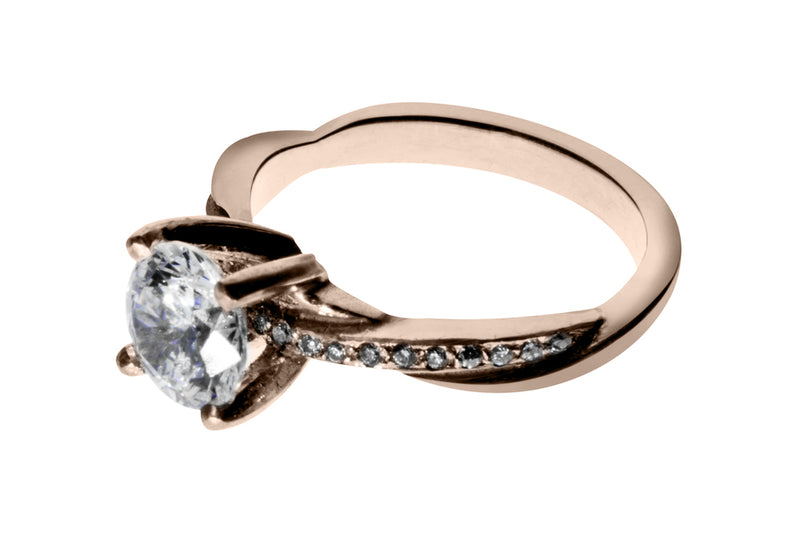 Anillo con Diamante Eternity Oro Rosa 14k