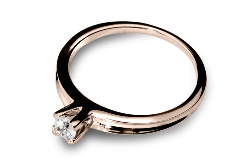 Anillo con Diamante Channel Oro Rosa 14k