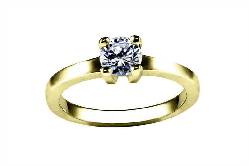 Anillo con Diamante Square Oro Amarillo 18k