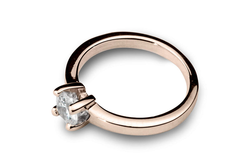 Anillo con Diamante Square Oro Rosa 18k