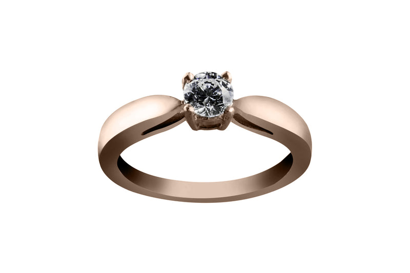 Anillo con Diamante Bond Oro Rosa 14k