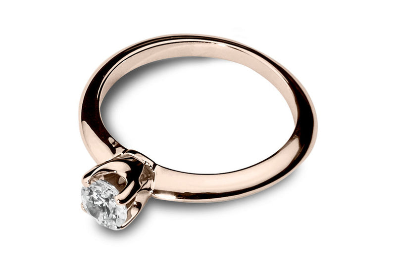 Anillo con Diamante Thorn Oro Rosa 14k