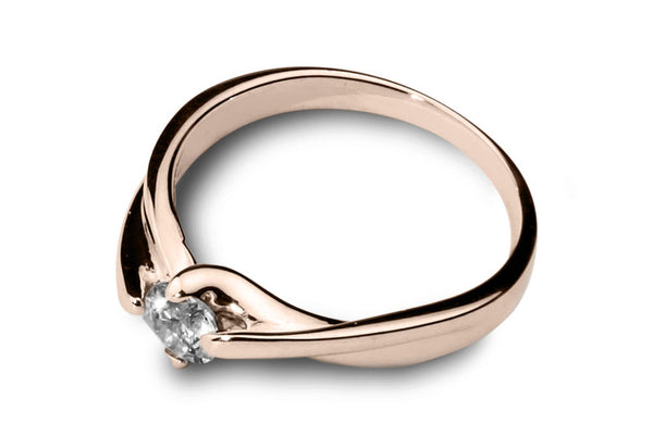 Anillo con Diamante Curly Oro Rosa 18k
