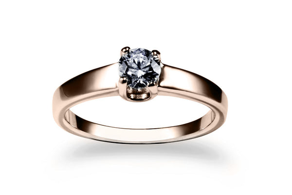 Anillo con Diamante You Oro Rosa 14k