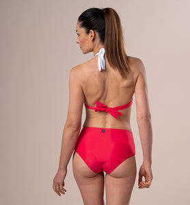Top americano eco bikini: Double-face Corallo e Bianco