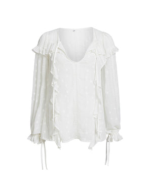 COCO RUFFLE  BLOUSE IN WHITE LILY
