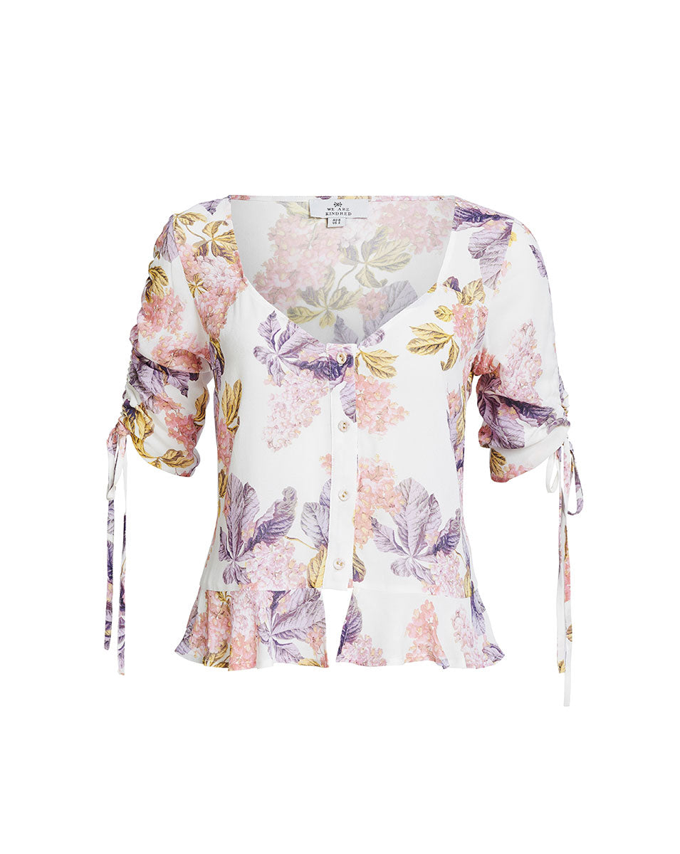 STEVIE SWEETHEART BLOUSE IN WHITE BLOSSOMS