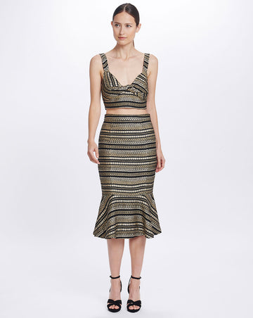 ISOLDE KICK FLARE SKIRT IN JACQUARD STRIPE
