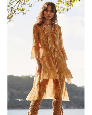 AMALFI MIDI DRESS IN SUNFLOWER PAISLEY