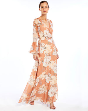 NELLIE SILK WRAP DRESS - PEACH BLOSSOM