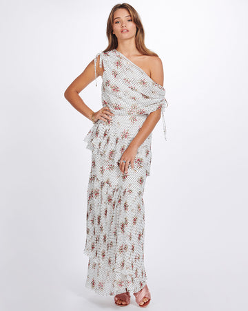 GRACIE ASYMMETRIC MAXI IN VINTAGE SPOT