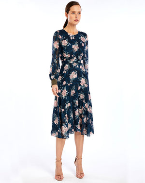 LUCILLE MIDI DRESS - INK ROSE - DEVORE