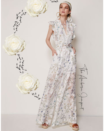AMBROSIA FRILL SLEEVE JUMPSUIT IN WHITE BLOOMS