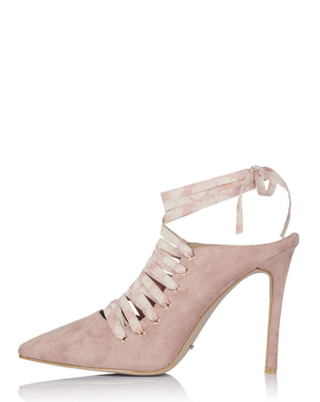 LAETITIA LACE UP MULES IN BLUSH