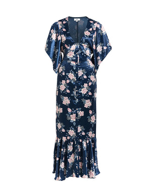 FRENCHIE TIE FRONT MAXI DRESS IN INK ROSE