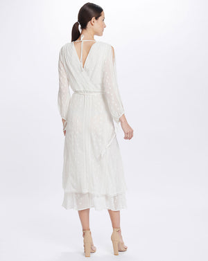 COCO SPLIT SLEEVE MIDI DRESS IN WHITE LILY