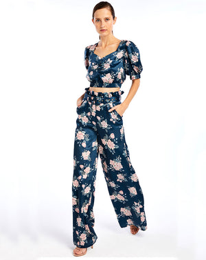 FRENCHIE PALAZZO PANT - INK ROSE