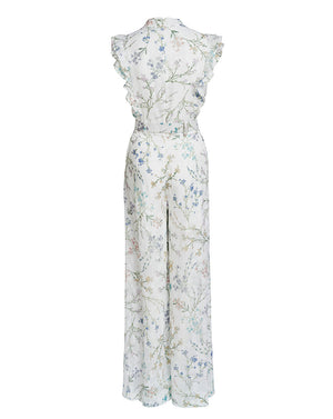 AMBROSIA FRILL SLEEVE JUMPSUIT - WHITE BLOOMS