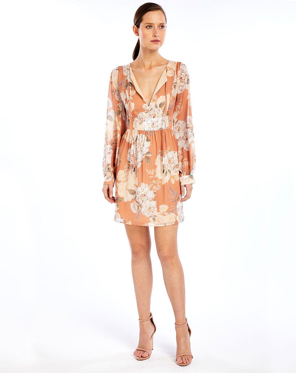 NELLIE SILK MINI DRESS - PEACH BLOSSOM