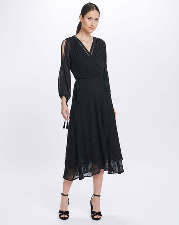 COCO SPLIT SLEEVE MIDI DRESS IN BLACK LILY