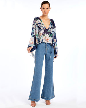 JOSEPHINE RUFFLE BLOUSE - WATER LILLIES