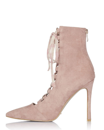 Colette Lace Up Booties - Blush