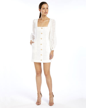SOOKIE SHIFT MINI DRESS - BROIDERIE WHITE