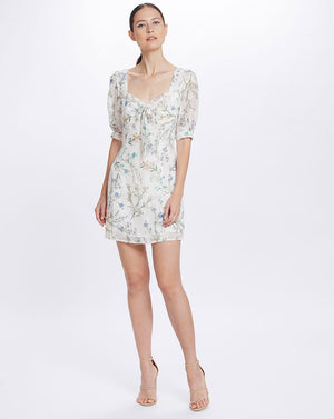 AMBROSIA SWEETHEART MINI DRESS - WHITE BLOOMS