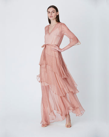 ARABELLA SILK MAXI DRESS IN ROSE