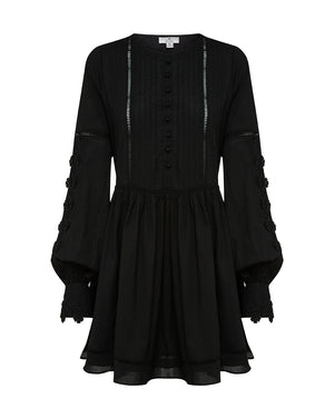 SAMPLE OF BEATRIX COTTON DAY DRESS IN BLACK DAISY
