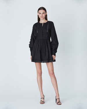 BEATRIX COTTON DAY DRESS IN BLACK DAISY