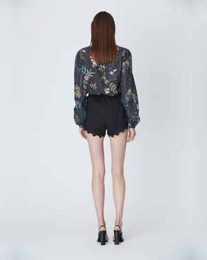 HAZEL COTTON BLOUSE IN BLACK DELPHINIUM