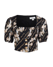 BRONTE BUSTIER BLOUSE IN BLACK PAISLEY