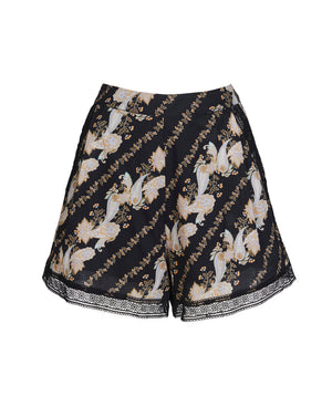 BRONTE SHORTS IN BLACK PAISLEY