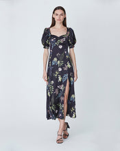 ELOISE MIDI DRESS IN BLACK DELPHINIUM