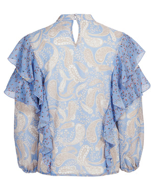 AMALFI BLOUSE IN SPLICED CORNFLOWER