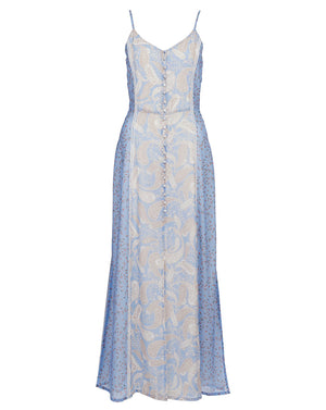 AMALFI SLIP DRESS IN SPLICED CORNFLOWER