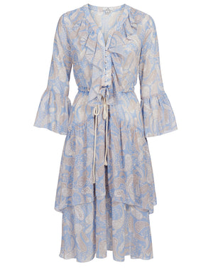 AMALFI MIDI DRESS IN CORNFLOWER PAISLEY