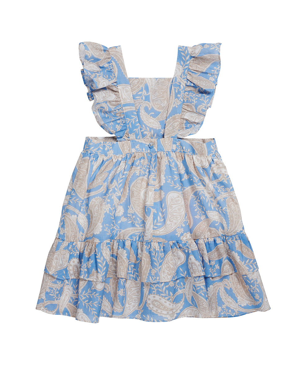 GIRLS PINAFORE DRESS IN CORNFLOWER PAISLEY