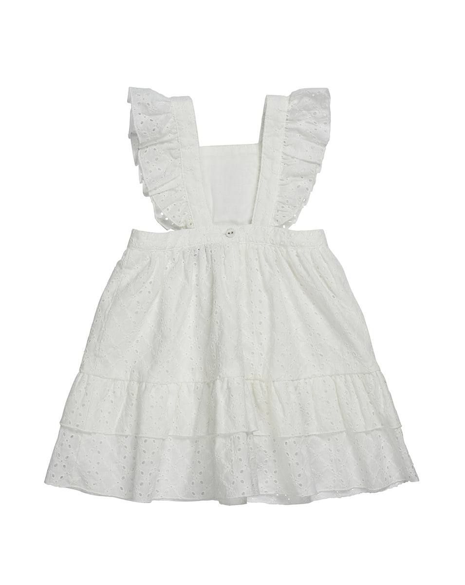 GIRLS PINAFORE DRESS IN IVORY BRODERIE