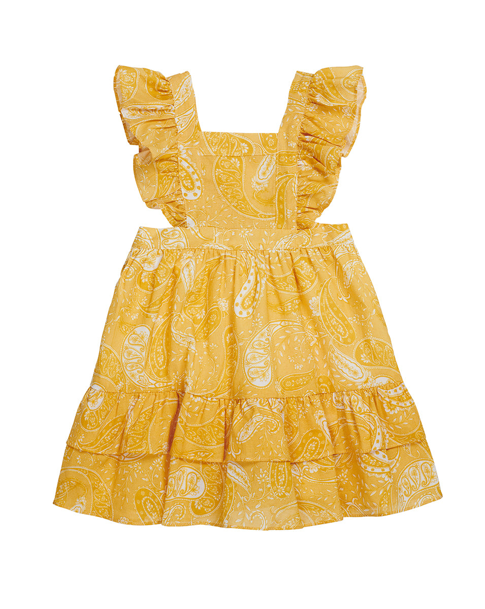 GIRLS PINAFORE DRESS IN SUNFLOWER PAISLEY